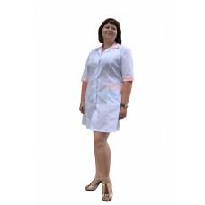 Халат медицинский женский с коротким рукавом (ткань ТИСИ, с розовой отделкой)