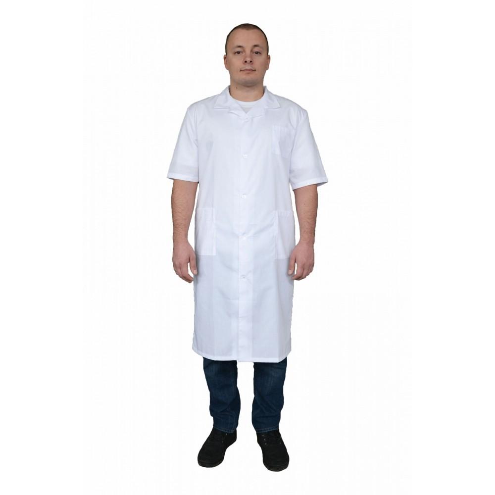 Халат медицинский мужской с коротким рукавом (ткань ТИСИ)