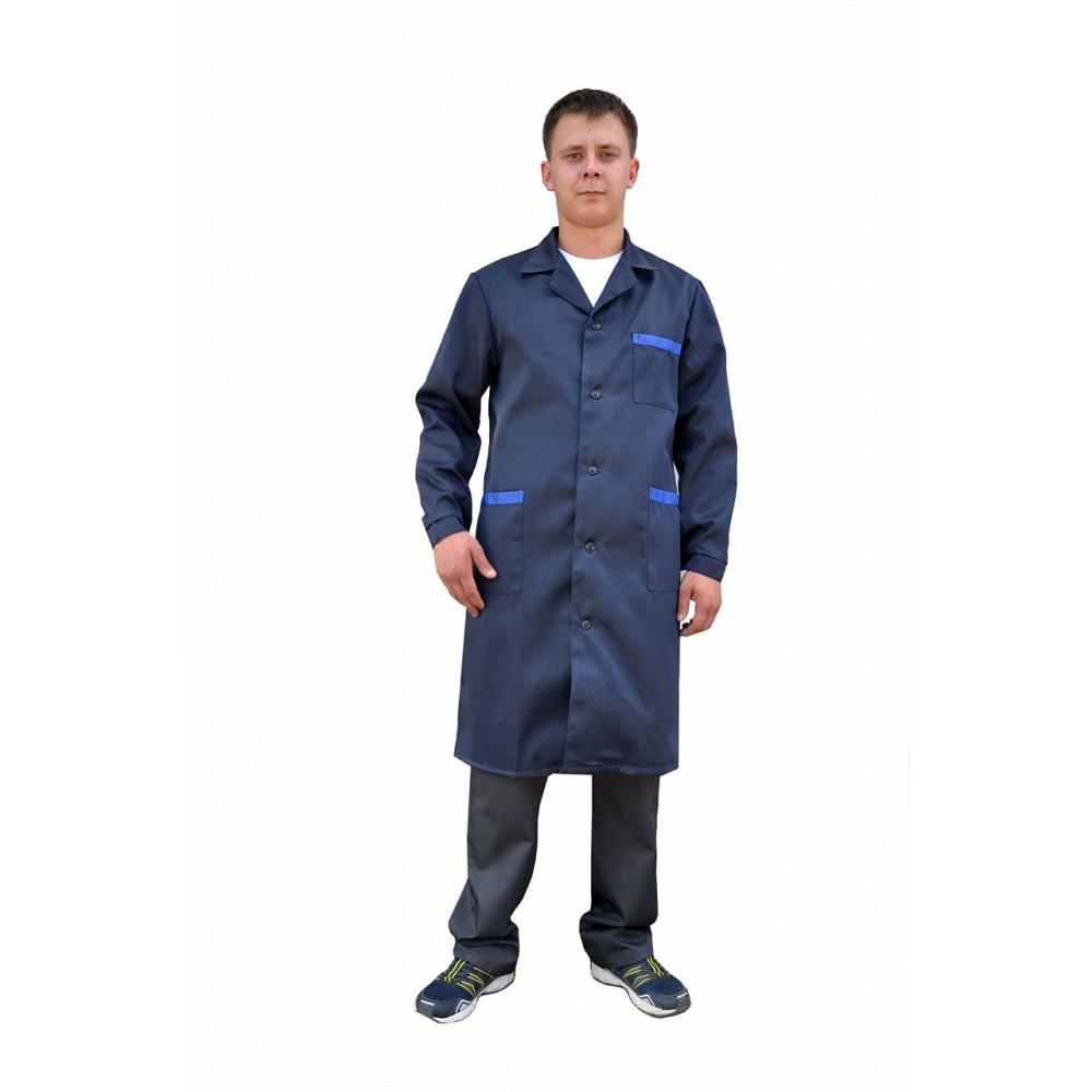 Халат рабочий мужской (ткань смесовая, синий + василек)