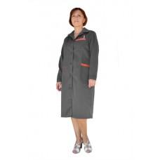 Халат рабочий женский (ткань смесовая, серый + красный)