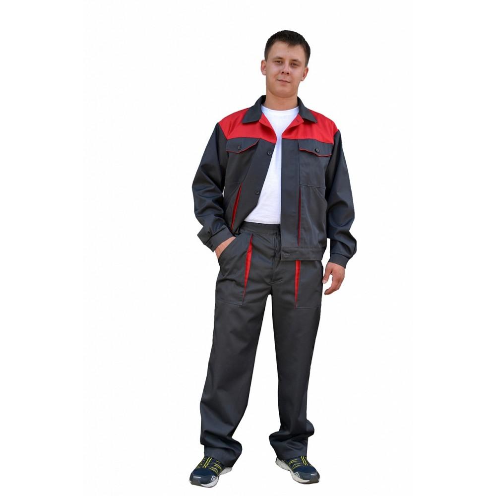 Костюм № 107 с брюками (ткань смесовая, серый + красный)
