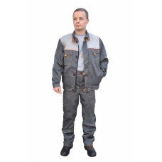 Костюм № 108 с брюками (ткань смесовая, серый)