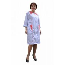 Халат медицинский женский с коралловой отделкой (ткань ТИСИ)