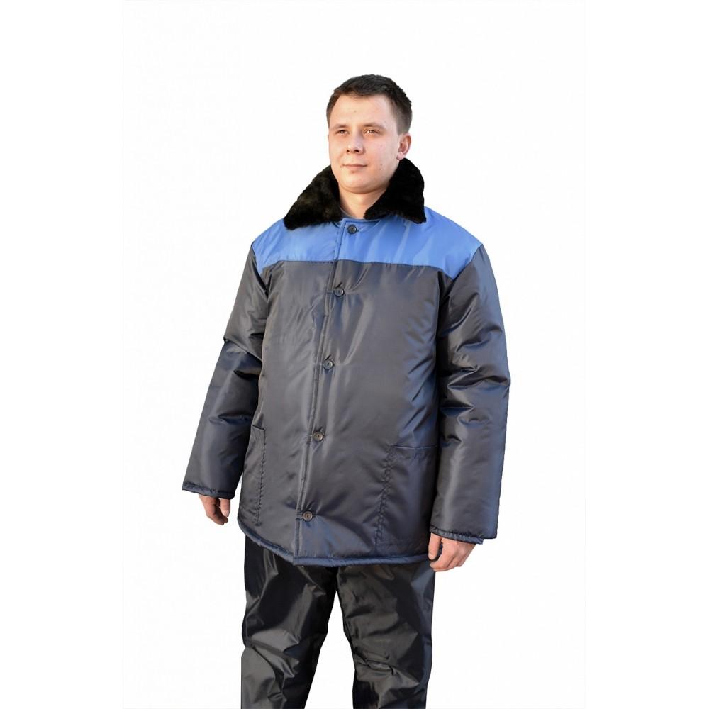 Куртка рабочая с м/в (ткань оксфорд, синий + василек)