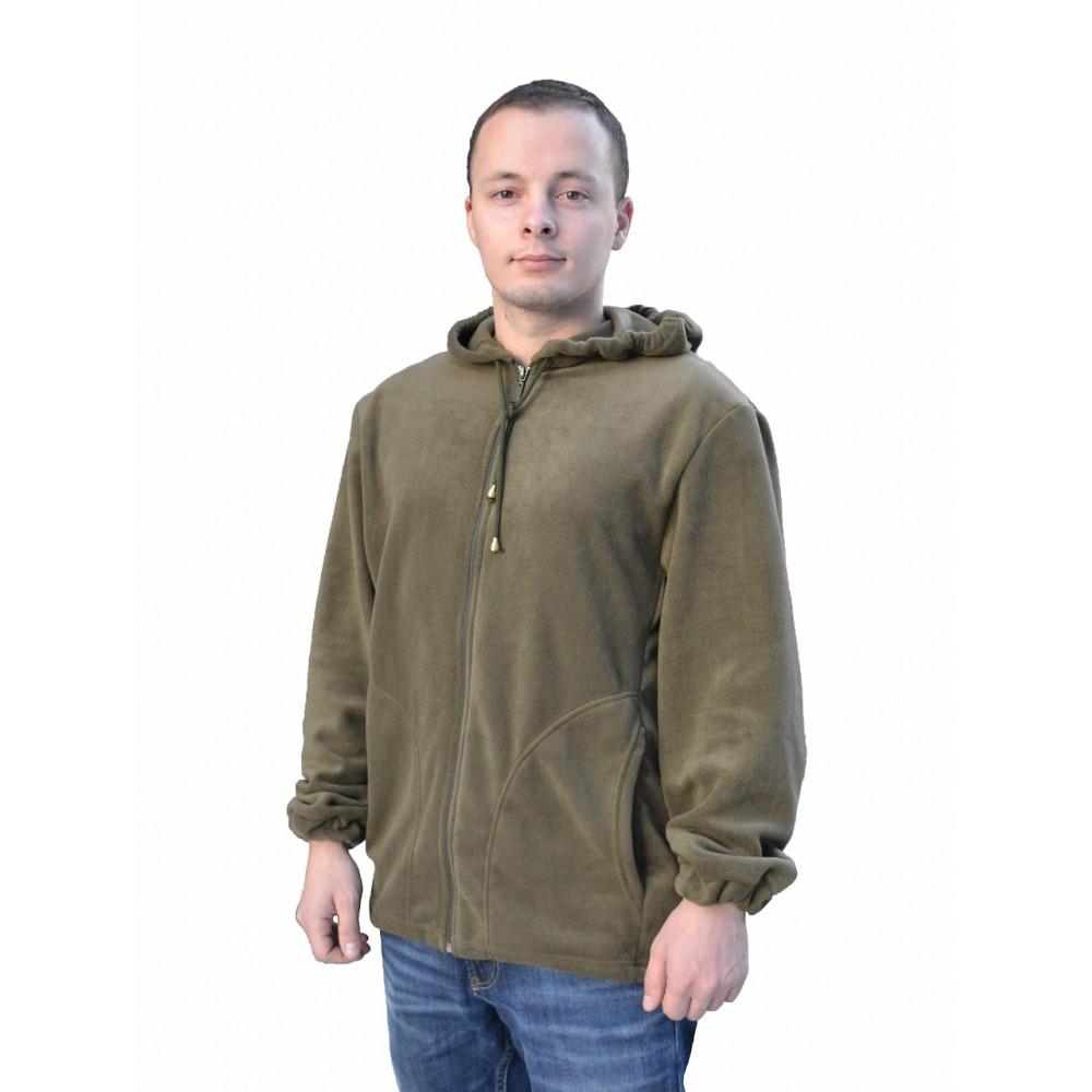Куртка флисовая №1  с капюшоном (Олива)