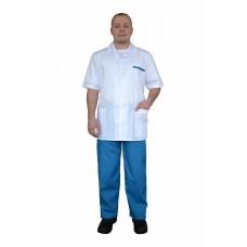 Костюм медицинский мужской с коротким рукавом (ткань ТИСИ, отделка зеленая)