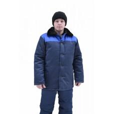 Куртка рабочая с м/в (ткань смесовая, синий + василек)