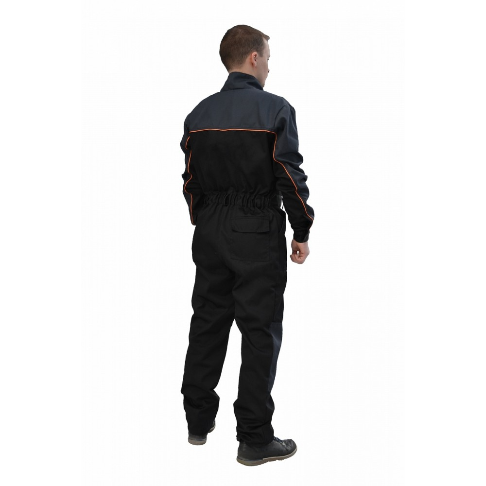 Комбинезон рабочий (ткань саржа, черный + серый)