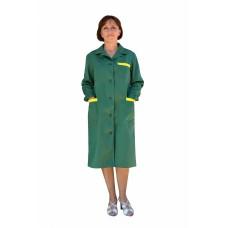 Халат рабочий женский (ткань смесовая, зеленый + желтый)