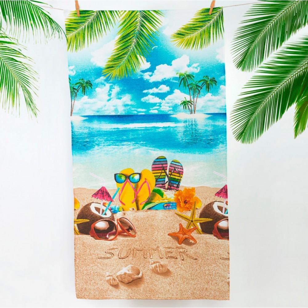"""Полотенце пляжное вафельное 150*60 """"Отпуск"""""""