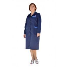 Халат рабочий женский (ткань смесовая, синий + василек)